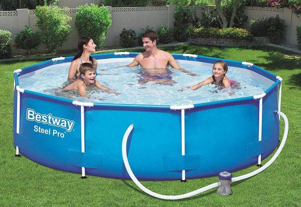 Bestway Steel Pro Frame Pool, rund 305x76 cm, inkl. Filterpumpe, Stahlrahmen