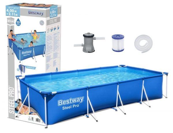 Bestway Stahlrahmen-Pool, rechteckig 400 x 211 x 81 cm, inkl. Pumpe