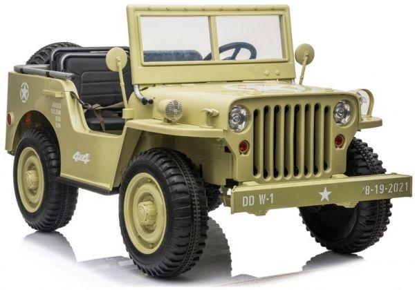 Für 3 Kinder Elektro-Kinderauto ARMY Jeep 4x4 - Kinderfahrzeug 3 Sitzer