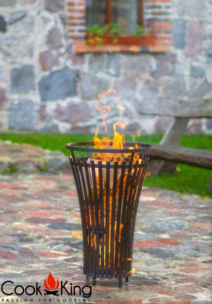 """Feuerkorb CookKing """"Flame"""" Feuerstelle aus Stahl Handmade Höhe 76 cm"""