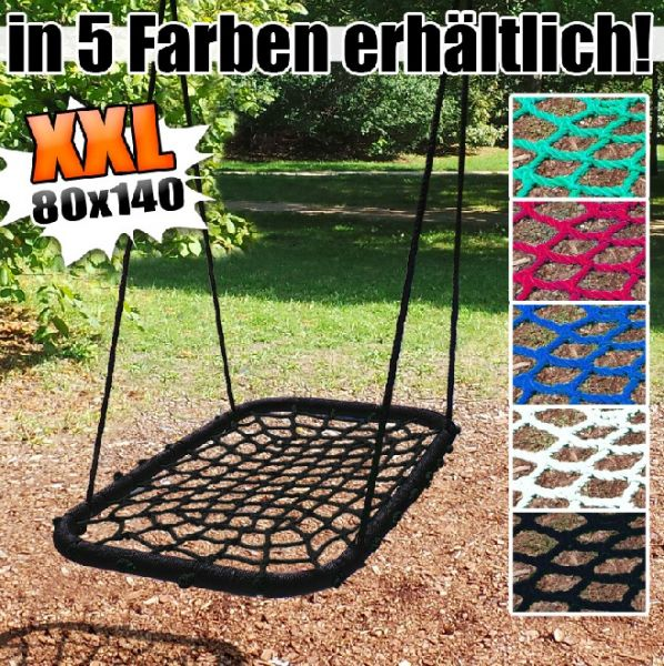 Gartenschaukel, Kinderschaukel, Tellerschaukel Netzschaukel XXL 80x140 cm Schaukel