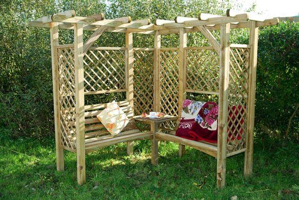 Milton Doppelpergola mit Bank - Gartenbank aus Holz - Pergola - Sitzecke