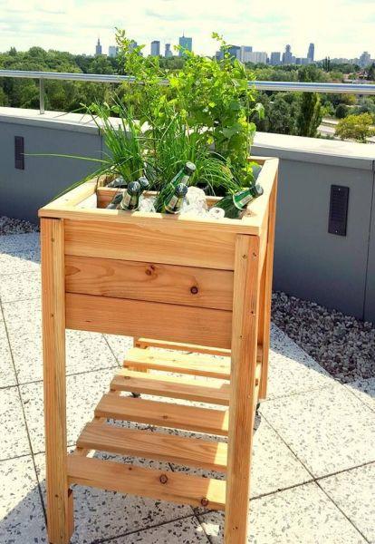 mobiles Hochbeet auf Rädern - Province Holz-Kräuterbeet - Holzregal