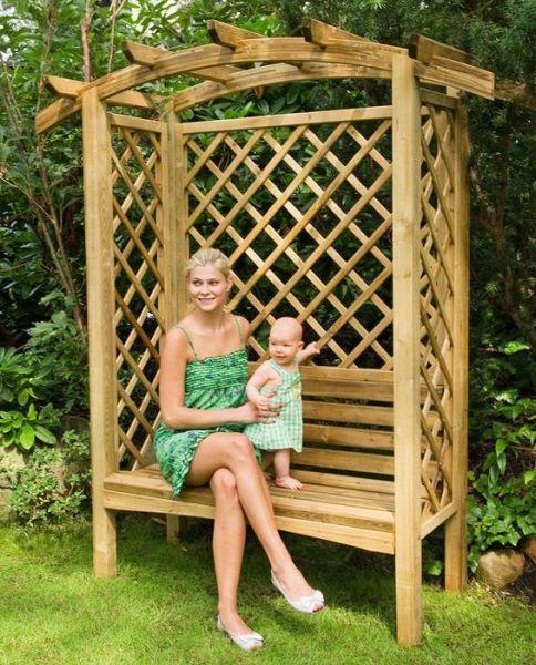 Linton Pergola mit Bank - Gartenbank aus Holz - Pergola - Sitzecke
